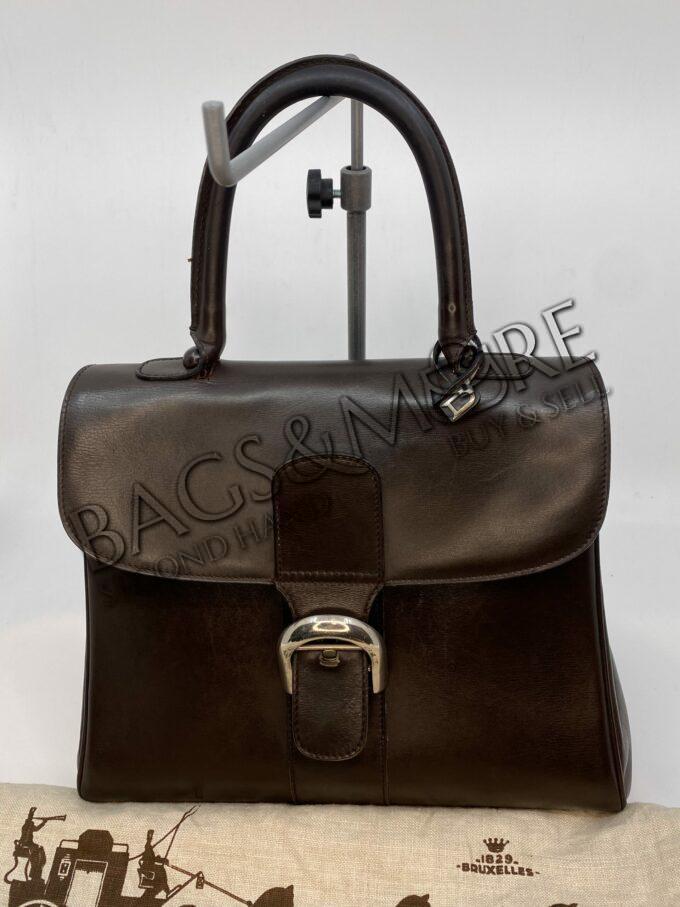 Delvaux Brillant MM kleur donker bruin met zilver