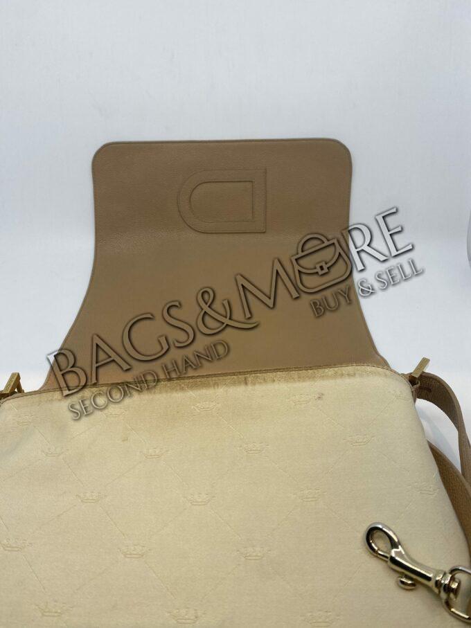 Delvaux schoudertas of Cross body model Loiose beige met goudkleurige accenten