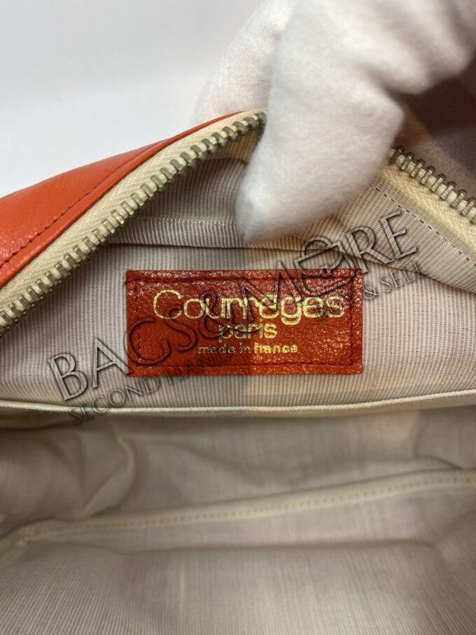 Courrèges schoudertas of Cross Body kleur oranje met beige accenten