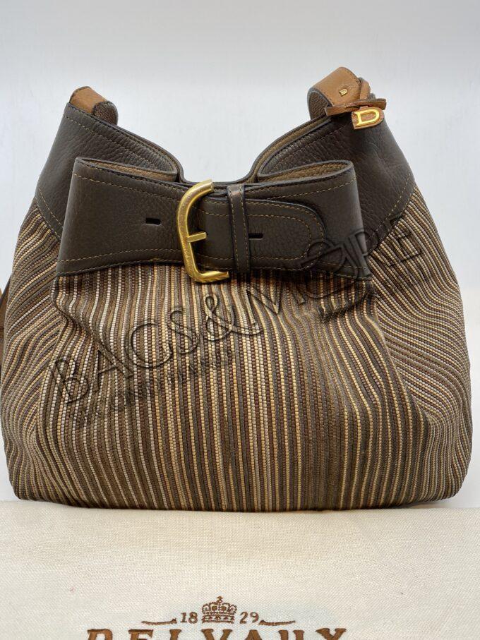 Delvaux nomade toile de cuir bruine tinten